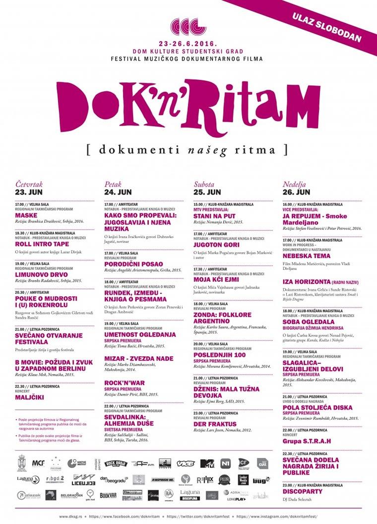 """Фестивал музичког документарног филма """"Dok'n'Ritam"""" - Program"""